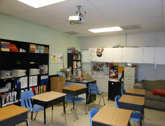 Interior view of classroom in Double Classroom Building for use at a private school. Precision Structures Inc, Texas and Louisiana