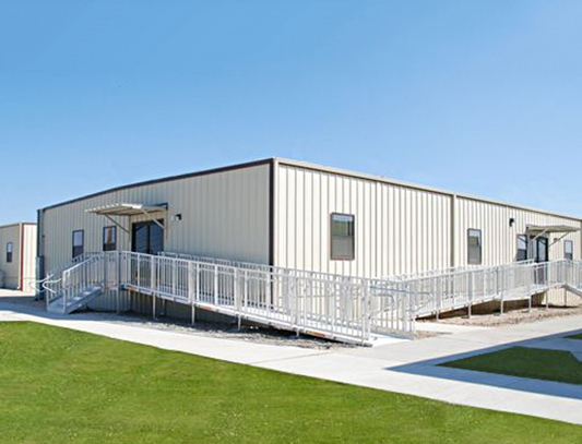 Modular Office Building Complex with covered landings, steps and ADA ramp with handrails in the Houston Texas metro area, Southeast Texas and Louisiana.